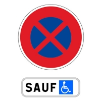 kit panneaux de stationnement pour handicap s 650mm panneau panonceau signalisation routier. Black Bedroom Furniture Sets. Home Design Ideas